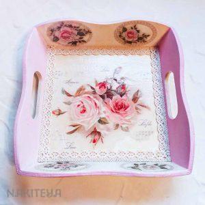 Roza leseni pladenj