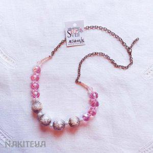 unikatna ogrlica belo-roza - 1000