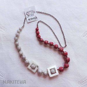 unikatna ogrlica rdeče-bela - 1000