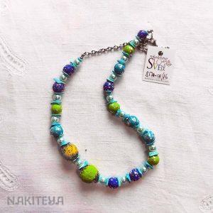 unikatna ogrlica turkizno modra