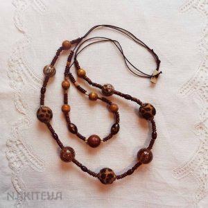 polstena ogrlica rjava-dvojna - 1000